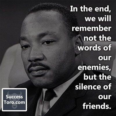 """In the end, we will remember not the words of our enemies, but the silence of our friends."""